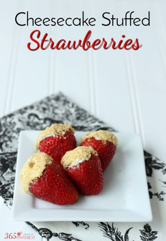 With only 5 ingredients, these cheesecake stuffed strawberries are a perfect dessert or party snack! This is a great recipe for kids to help with, too!