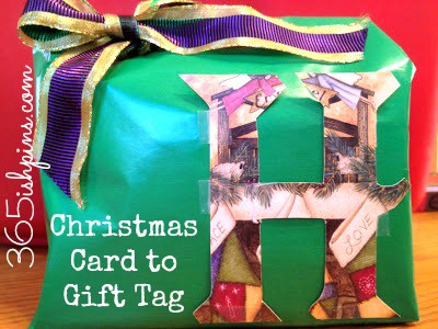 Day 188: Gift Tags from Christmas Cards