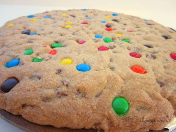 This recipe makes the perfect giant cookie cake! It's great for birthday parties or just curbing that craving for a yummy chocolate chip cookie!