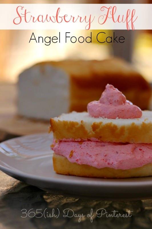 strawberry fluff angel food cake