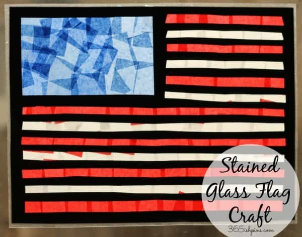 stained glass flag craft labeled