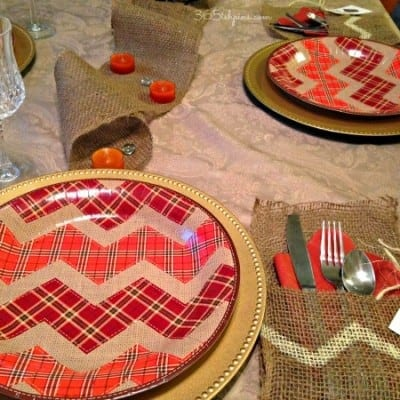 No Sew Burlap Utensil Holders