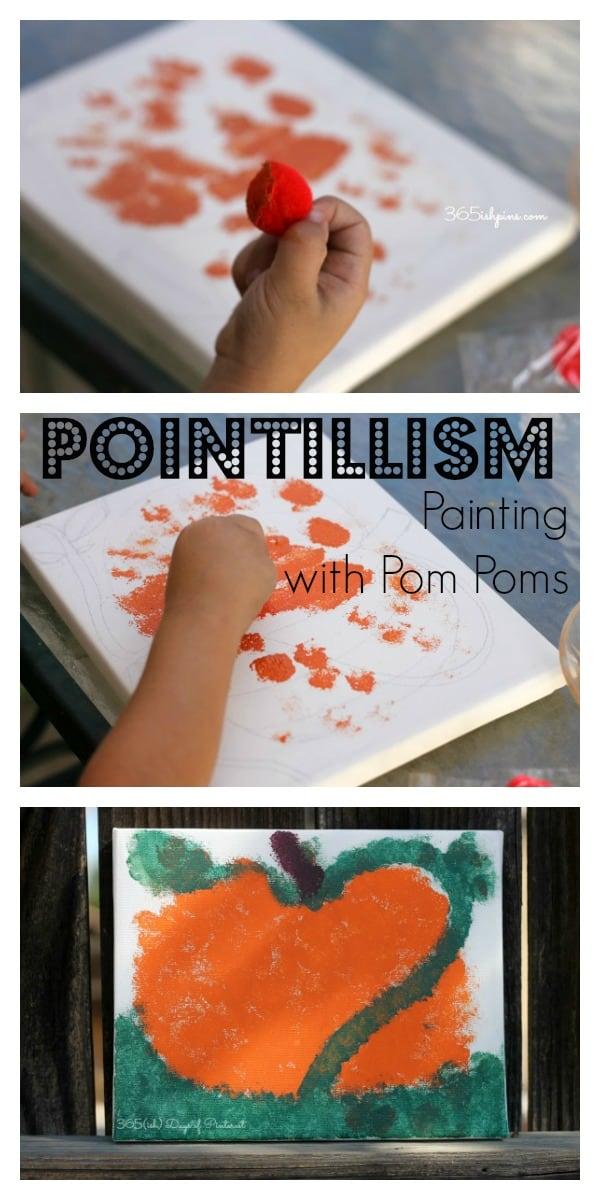 pointillism pom pom painting