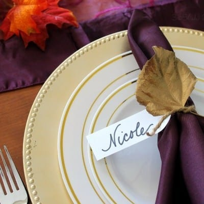Metallic Leaf Thanksgiving Place Cards
