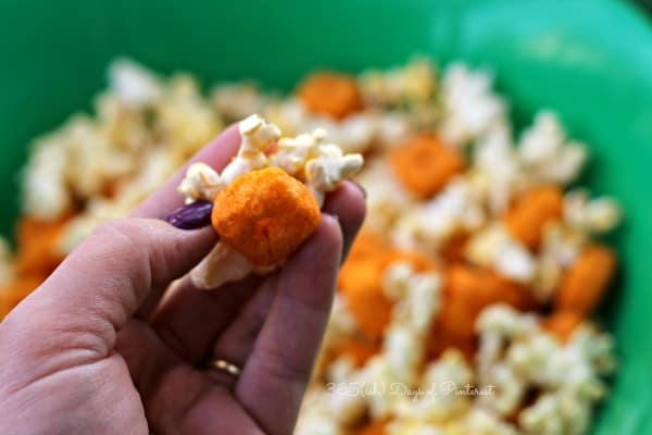 spicy popcorn football party mix