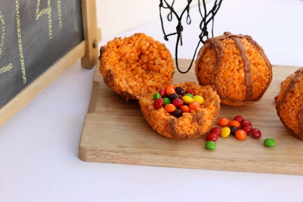 These Rice Krispie basketballs make a great treat for any tournament party or game day. Overtime bonus: they're stuffed with Skittles!