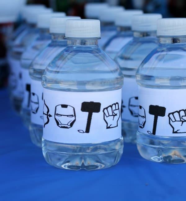 Avenger water bottle labels