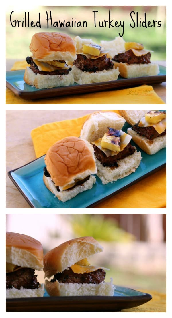 Grilled pineapple and a delicious marinade/sauce makes these Hawaiian Turkey Sliders a great option for Memorial Day or any other BBQ!