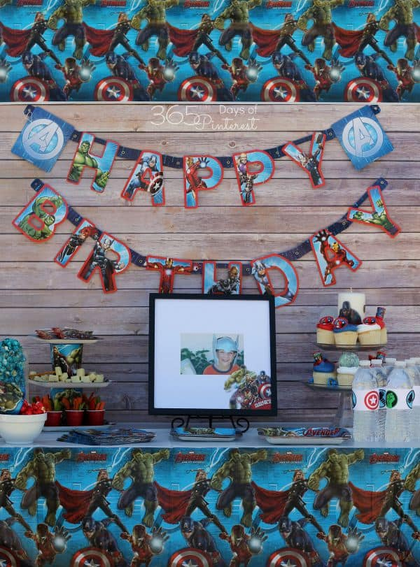 Avengers birthday party table vertical