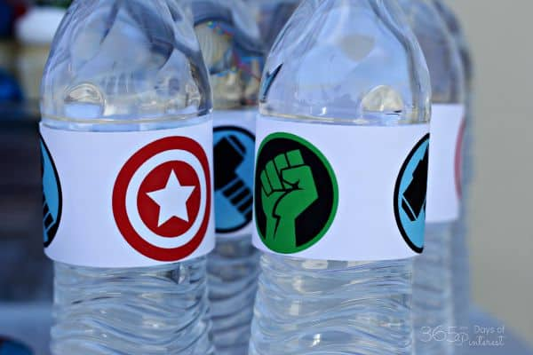 Avengers water bottle label
