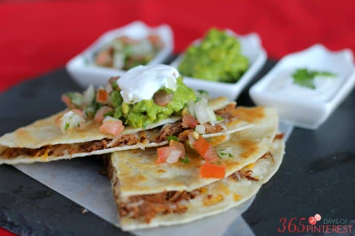 easy beef quesadilla stack