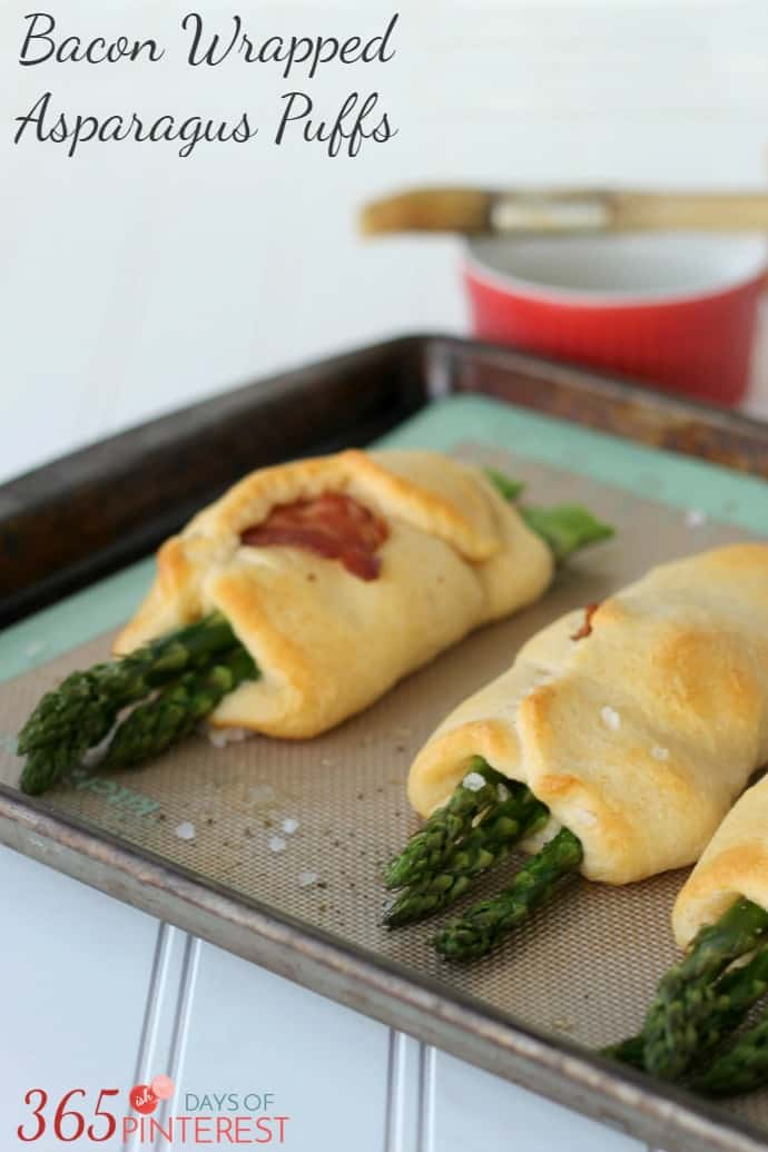 Bacon Wrapped Asparagus Puffs labeled