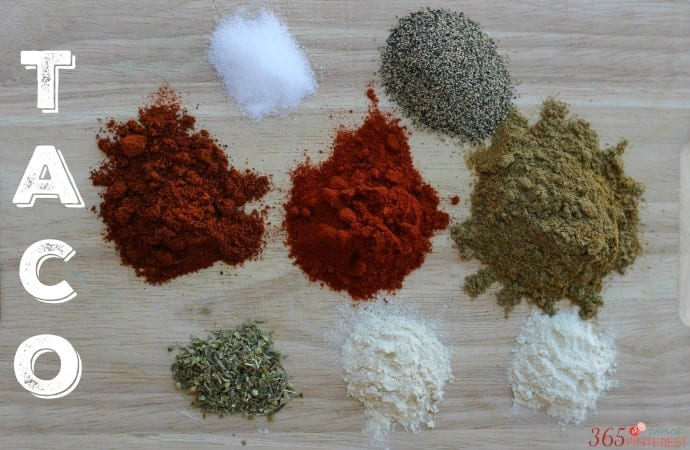 homemade taco seasoning ingredients labeled