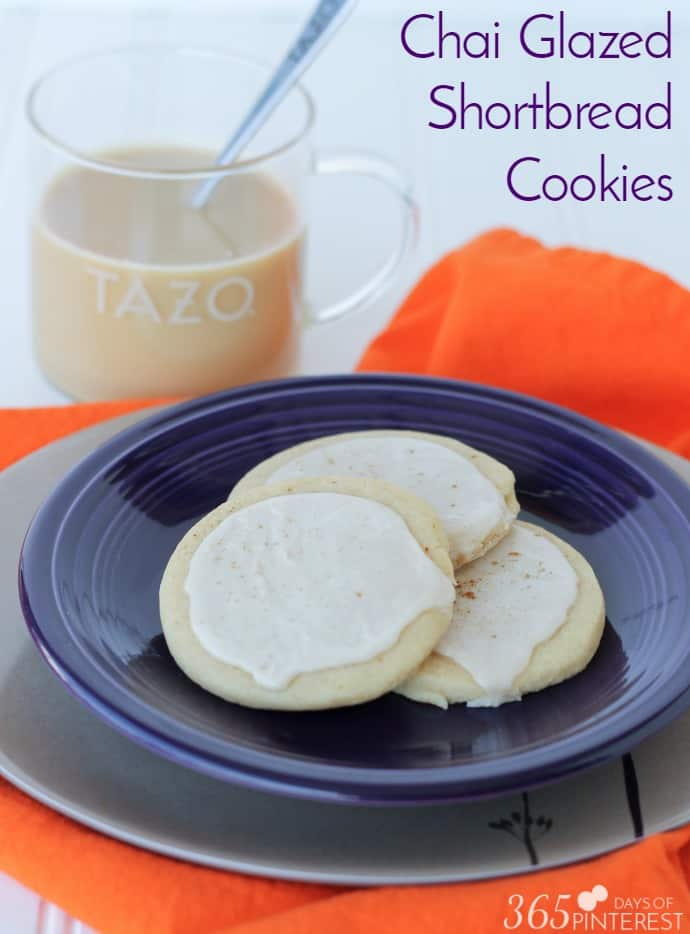 chai glazed shortbread cookies