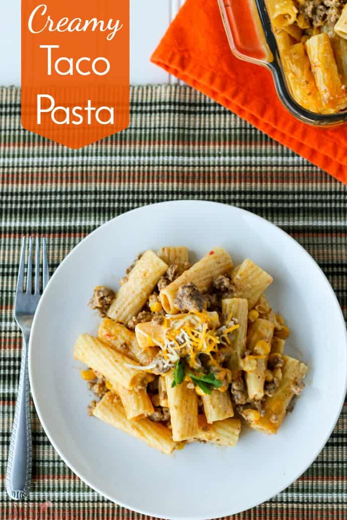 "Creamy Taco Pasta is an easy weeknight dinner with just a few (kid-friendly) ingredients. This will become one of your ""go to"" meals!"